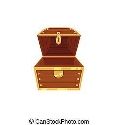 Open empty wooden pirate treasure chest