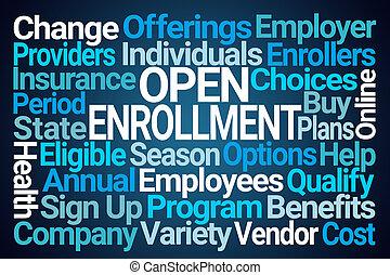 Open Enrollment Word Cloud on Blue Background