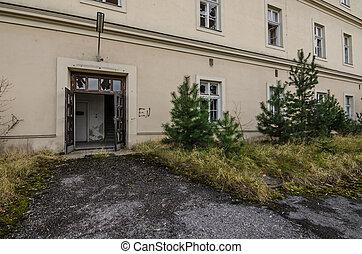 entrance of abandoned barracks