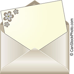 Open envelop with floral stationery - Open envelope with...