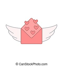 open envelope and heart shapes with wings. vector design illustration