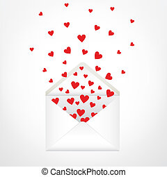 open envelope and hearts. Love letter