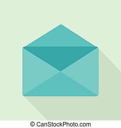 Open envelope icon, flat style