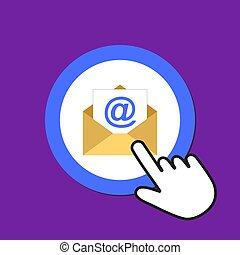 Open envelope icon. Sending email concept. Hand Mouse Cursor Clicks the Button.