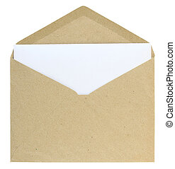 open envelope isolated on white background with clipping path