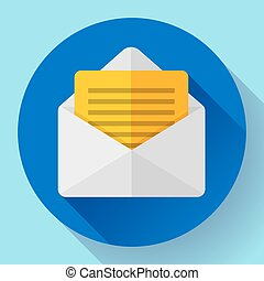 Open Envelope Mail Icon new letter message notification Flat 2.0 design style.