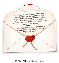 Open Envelope with a Letter. Vector