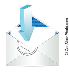Open envelope with arrow.