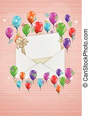 open envelope with balloons