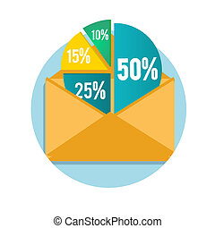 Open envelope with business pie chart