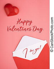 open envelope with card, heart  on pink background with the inscription Happy Valentines Day