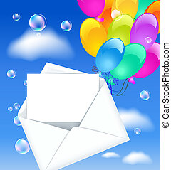 Open envelope with colorful balloons