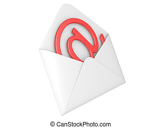 Open envelope with e-mail sign, 3d illustration