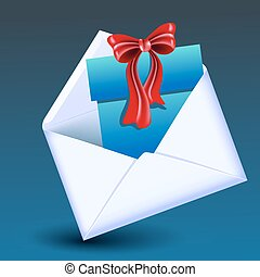 Open envelope with gift box and red bow