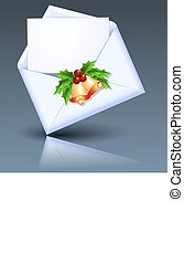 Open envelope with golden bells and holly berries