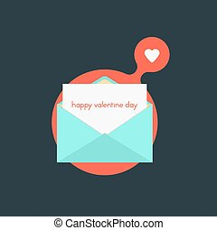 open envelope with happy valentine day on red bubble