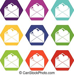 Open envelope with heart icon set color hexahedron