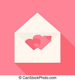 Open envelope with hearts inside