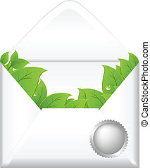 Open Envelope With Leaves