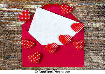 Open envelope with love letter.