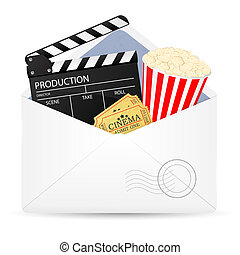 Open envelope with movie clapper board.