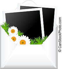 Open Envelope With Photo And Flowers