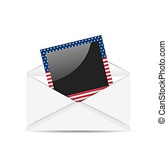 Open envelope with photo frame in US national colors for Independence Day, isolated on white background