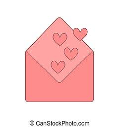 open envelope with pink heart shapes. vector design illustration