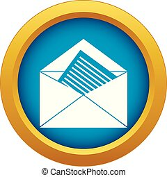 Open envelope with sheet of paper icon blue vector isolated
