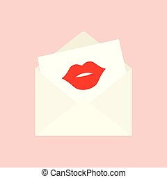 open envelope with the imprint of a red kiss