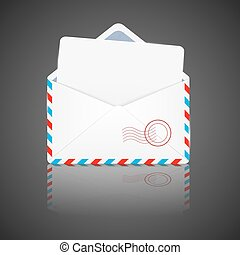 Open envelope with white paper. Vector illustration.