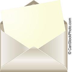 open, enveloppe, met, kaart