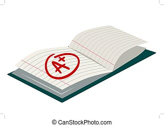 Open exercise book with A plus mark simple flat vector cartoon illustration. Back to school, literacy, education, learning, teaching theme design element  icon isolated on white.