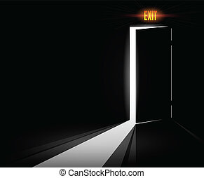 Conceptual open door to the light with exit sign