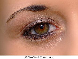 open eye - eye of a woman with brown iris