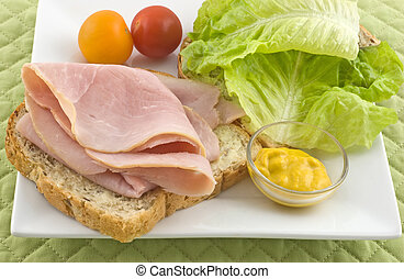 Open face ham sandwich