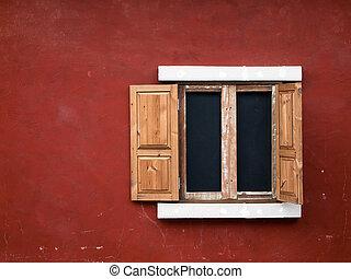 open fake wood window
