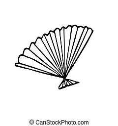 Open fan hand drawn in doodle style. Element for design postcard, poster