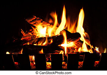 An warm, inviting open wood fire.