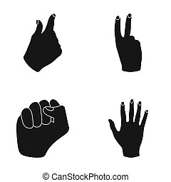 Open fist, victory, miser. Hand gesture set collection icons in black style raster,bitmap symbol stock illustration web.