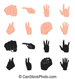 Open fist, victory, miser. Hand gesture set collection icons in black,cartoon style bitmap symbol stock illustration web.