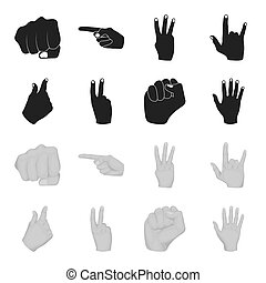 Open fist, victory, miser. Hand gesture set collection icons in black,monochrome style bitmap symbol stock illustration web.