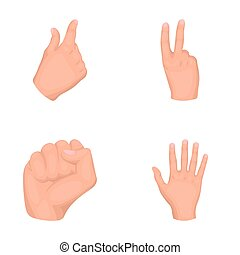 Open fist, victory, miser. Hand gesture set collection icons in cartoon style raster,bitmap symbol stock illustration web.