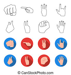 Open fist, victory, miser. Hand gesture set collection icons in outline,flat style bitmap symbol stock illustration web.