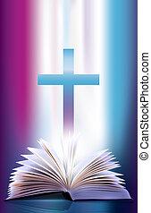 open, flicking, bijbel, en, kruis