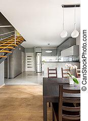 Open floor apartment in new style idea