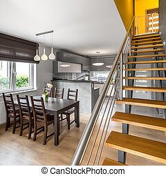 Open floor apartment with stairs