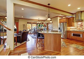 Open floor plan interior with living room, kitchen and dining area