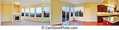 Open floor plan. Panoramic view of house interior