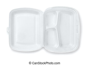 Open foam hinged three compartment meal container isolated...